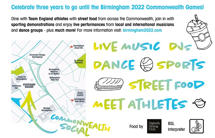 BIRMINGHAM 2022 CELEBRATES THREE YEARS TO GO WITH THE COMMONWEALTH SOCIAL A FREE